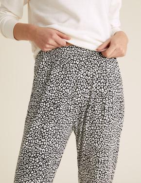 Kadın Siyah Leopar Desenli Tapered Pantolon