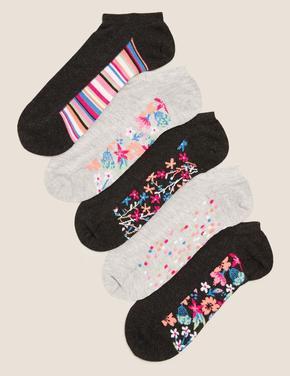 Kadın Gri 5'liSumptuously Soft™ Çiçek Desenli Çorap Seti