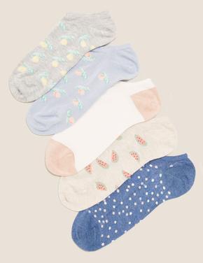 Kadın Mavi 5'liSumptuously Soft™ Meyve Desenli Çorap Seti