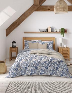 Ev Mavi Minik Çiçek Desenli Yatak Takımı