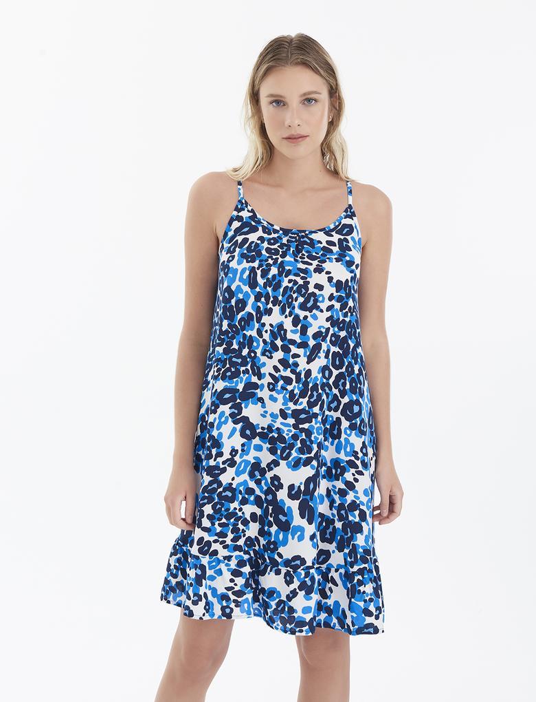 Kadın Mavi İnce Askılı Plaj Elbisesi