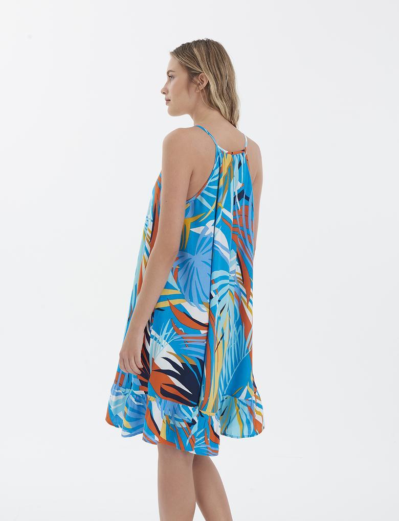 Kadın Mavi Desenli İnce Askılı Plaj Elbisesi