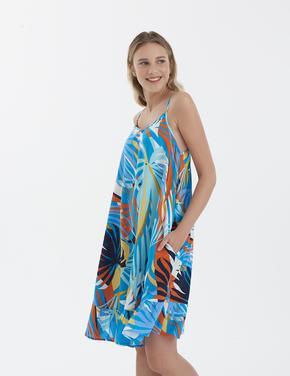 Kadın Mavi Desenli ince Askl Deniz Elbisesi