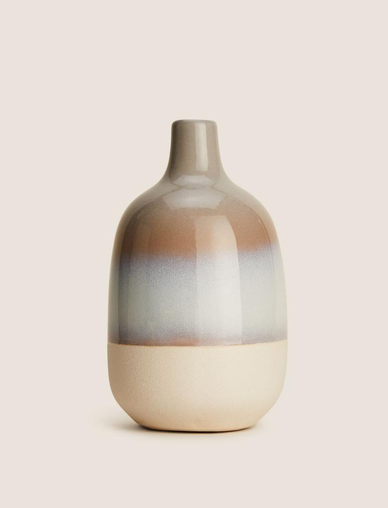 Ev Gri Renk Geçişli Vazo