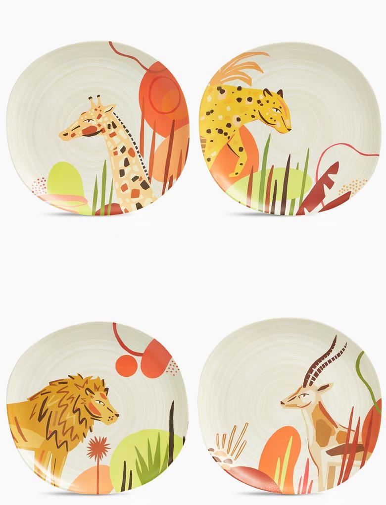 Ev Multi Renk Jungle Desenli 4'lü Yemek Tabağı