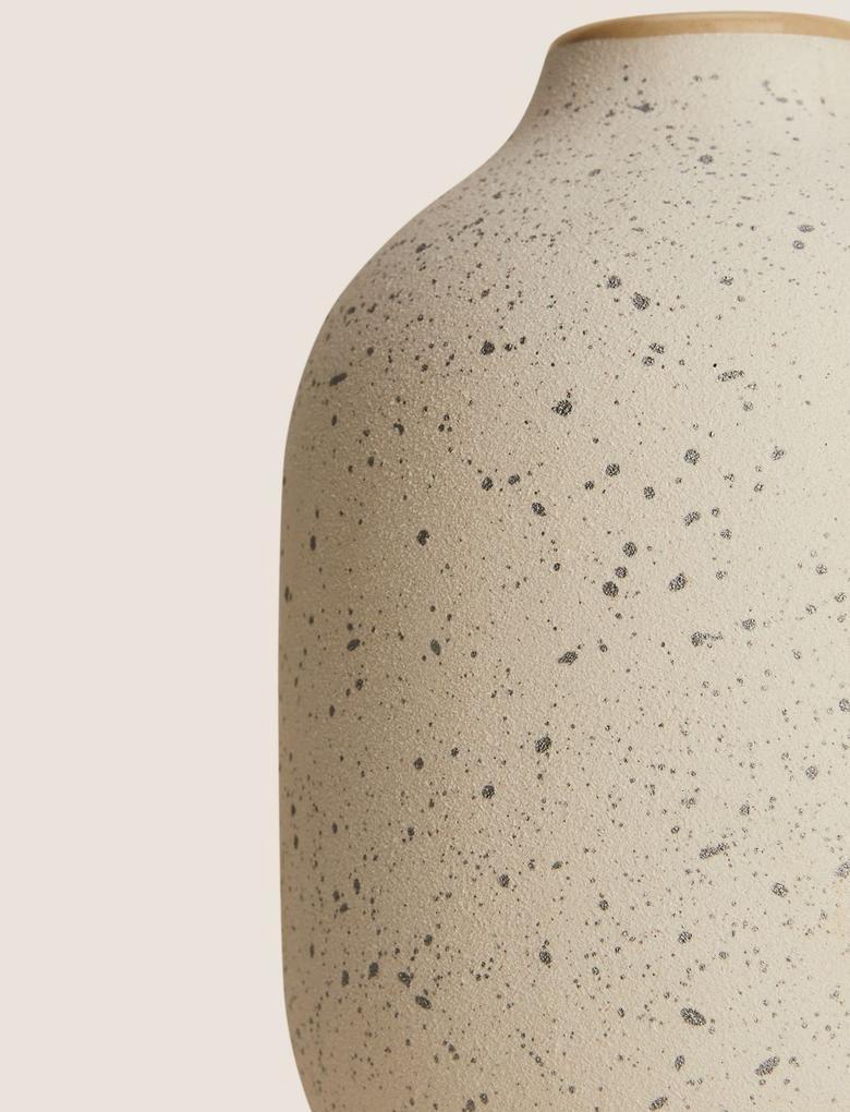 Ev Beyaz Sıçratma Desenli Vazo