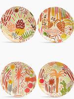 Ev Multi Renk Jungle Desenli 4'lü Pasta Tabağı