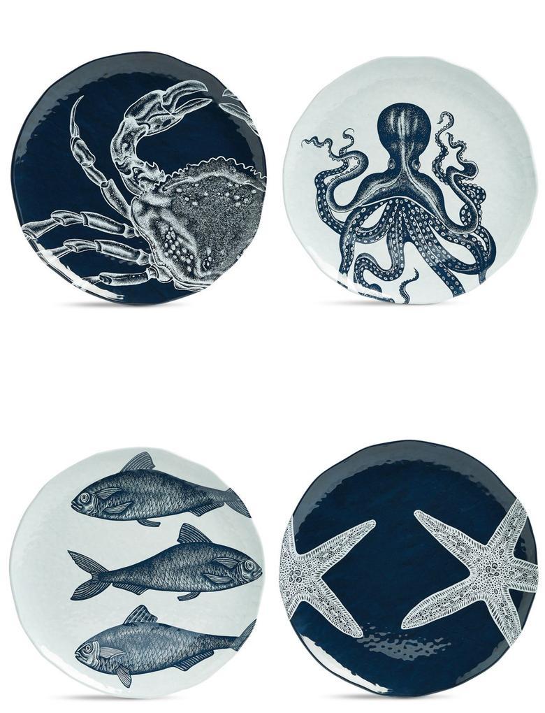 Ev Mavi Balık Desenli 4'lü Yemek Tabağı