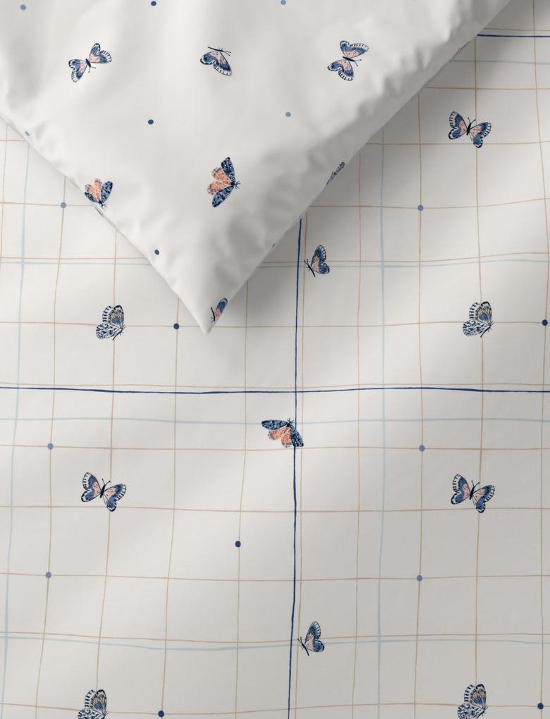 Ev Beyaz Kelebek Desenli Yatak Takımı