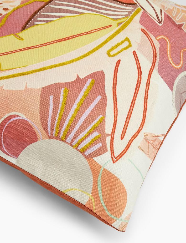 Ev Pembe Yaprak Desenli Dekoratif Yastık