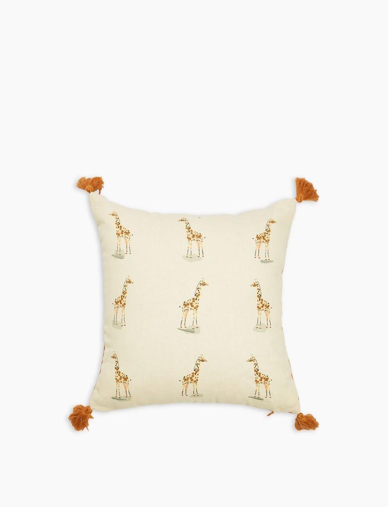 Ev Kahverengi Zürafa Desenli Dekoratif Yastık