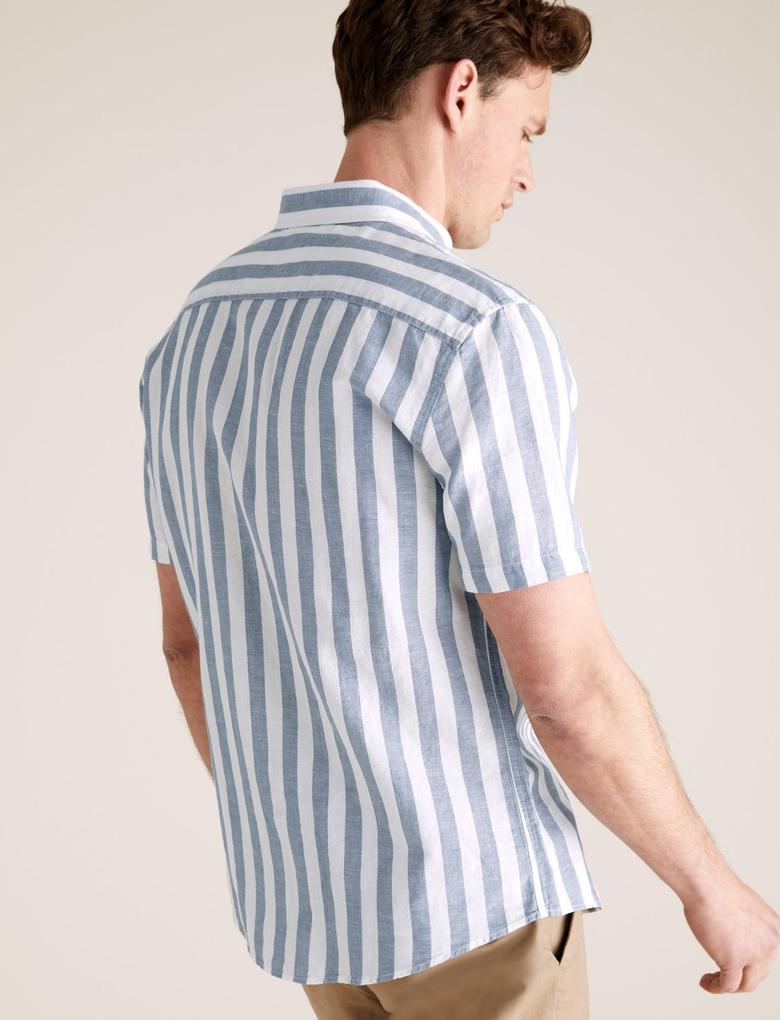 Erkek Mavi Çizgili Keten Kolay Ütülenebilir Gömlek