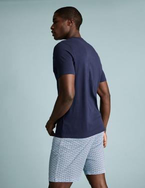 Erkek Mavi Kırlangıç Desenli Şortlu Pijama Takımı