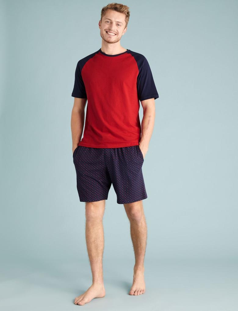 Erkek Kırmızı Kalp Desenli Şortlu Pijama Takımı