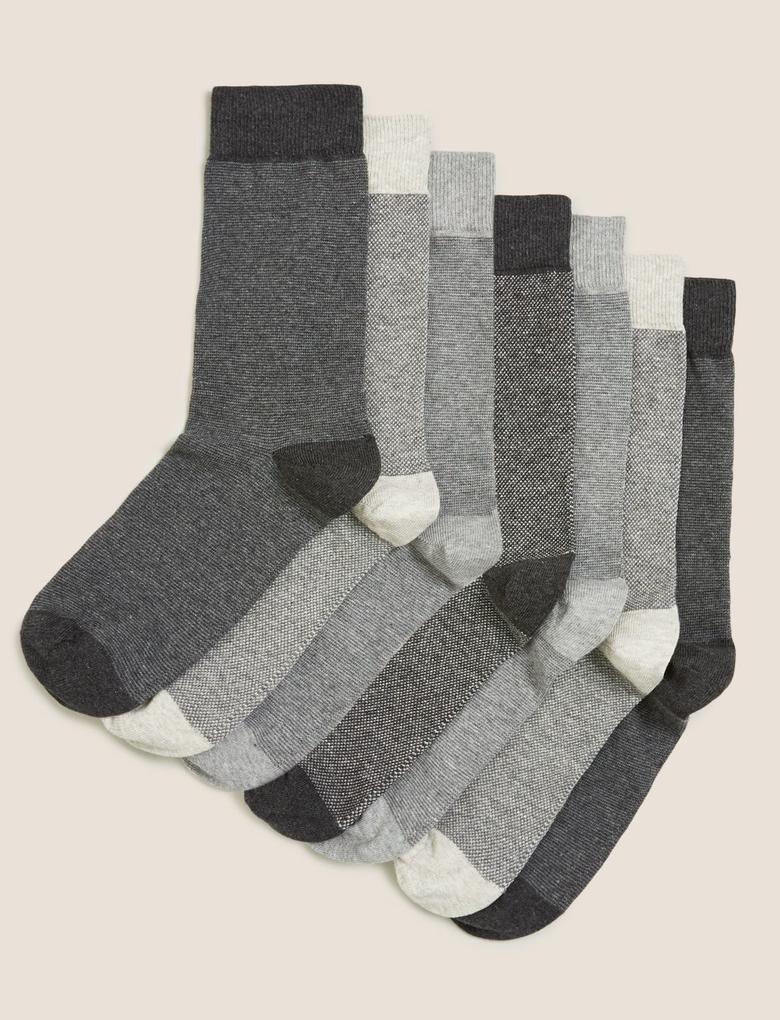 Erkek Gri 7'li Pamuklu Cool & Freshfeet™ Çorap Seti