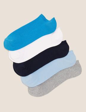 Erkek Mavi 5'li Pamuklu Cool & Freshfeet™ Çorap Seti