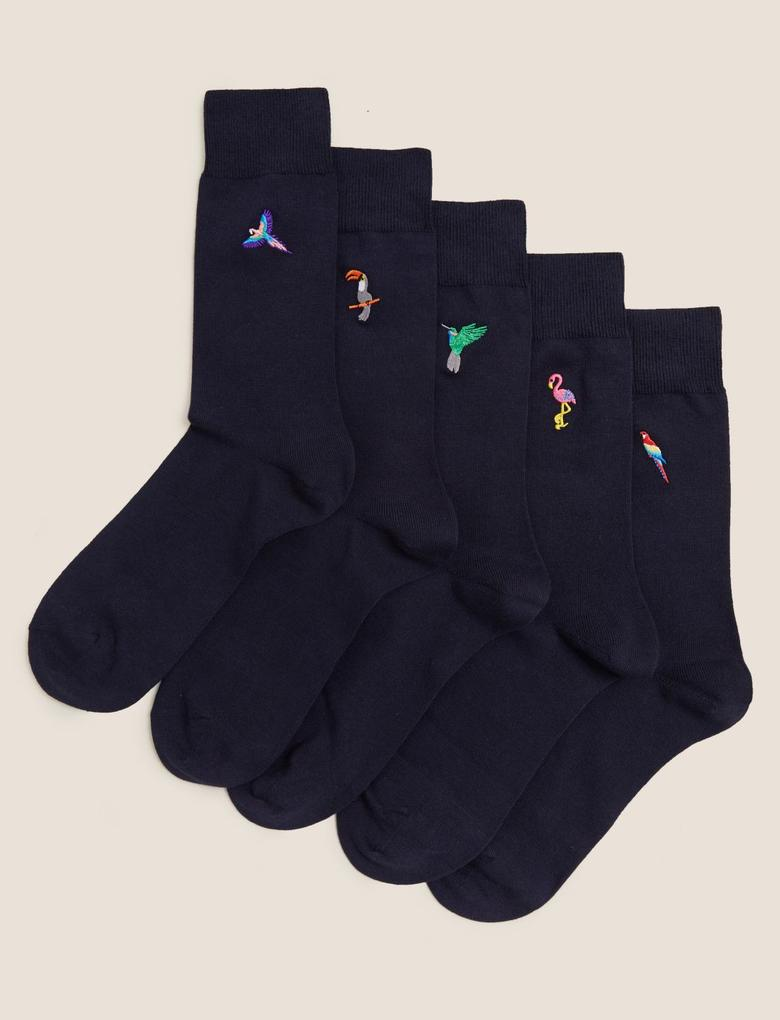 Erkek Lacivert 5'li Pamuklu Cool & Freshfeet™ İşlemeli Çorap Seti