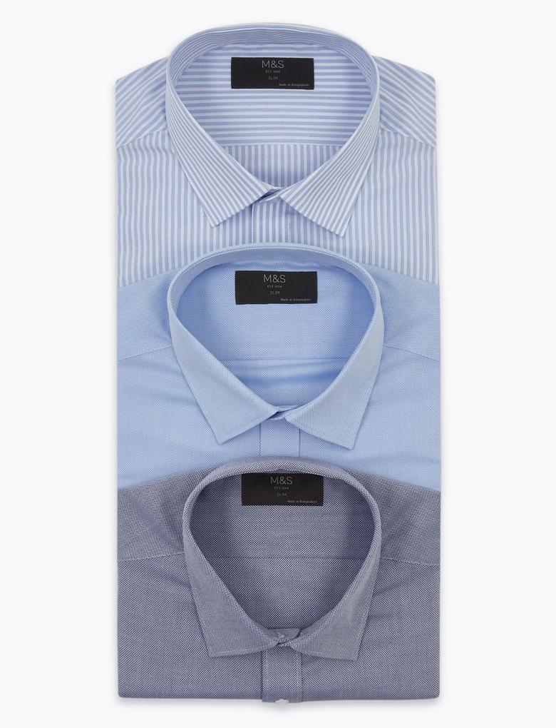Erkek Mavi 3'lü Uzun Kollu Gömlek Seti