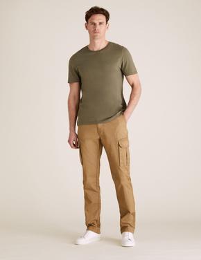 Erkek Krem Cepli Kargo Pantolon