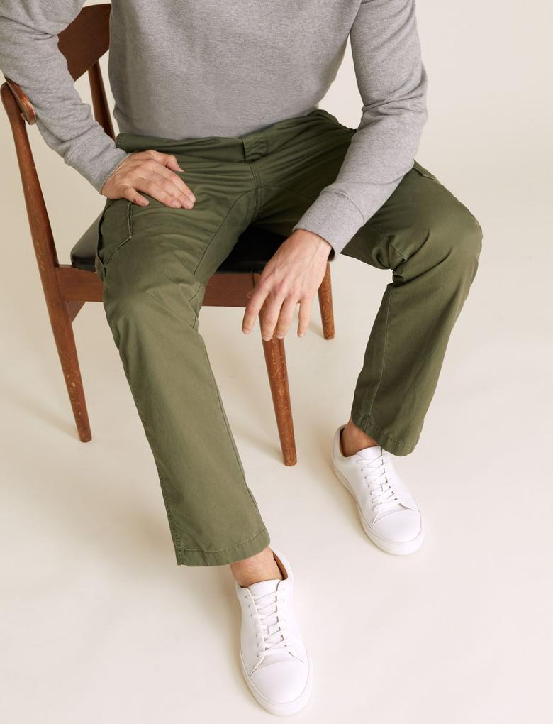 Yeşil Cepli Kargo Pantolon