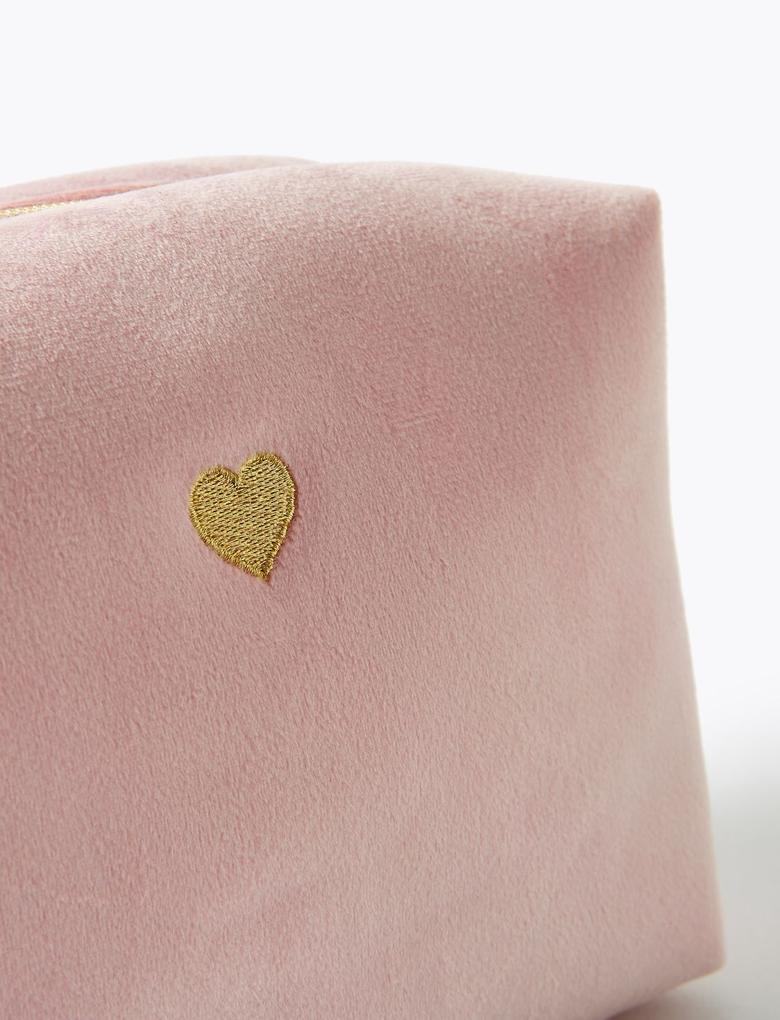 Kozmetik Renksiz Kalp Baskıl Makyaj Çantası