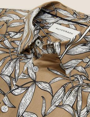 Erkek Kahverengi Desenli Tencel™ Gömlek
