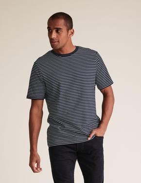 Erkek Lacivert İnce Çizgili T-shirt