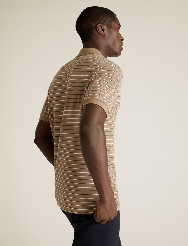 Erkek Kahverengi Saf Pamuklu Pique Polo Yaka T-Shirt