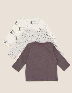 Bebek Gri 3'lü Baskılı T-Shirt Seti