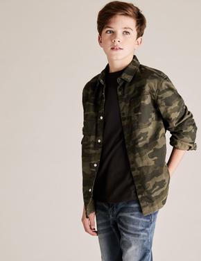 Erkek Çocuk Yeşil Kamuflaj Desenli Ceket