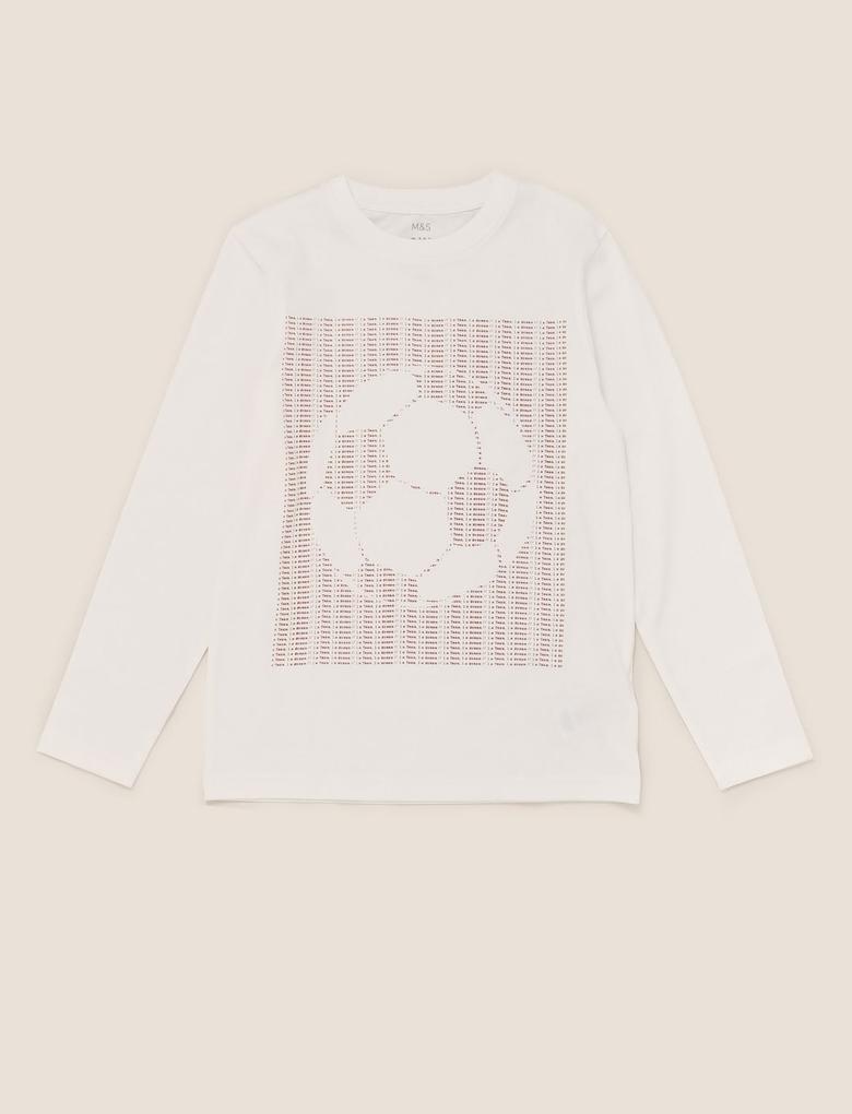 Erkek Çocuk Beyaz Futbol Topu Baskılı T-Shirt