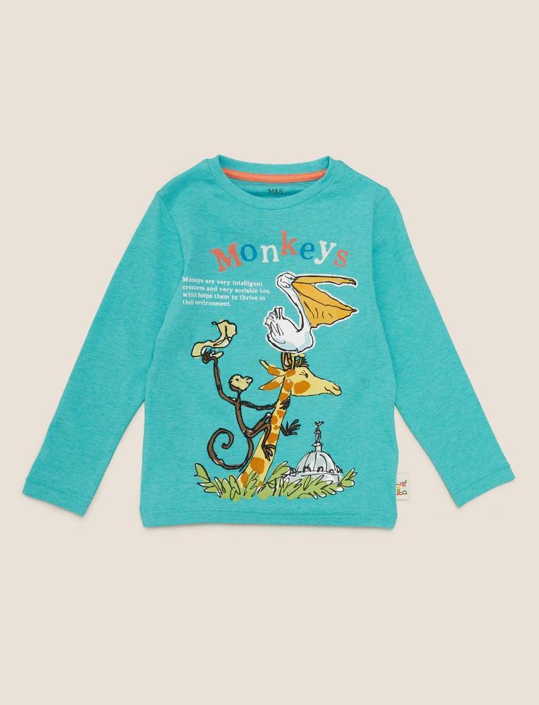 Erkek Çocuk Mavi Monkey Baskılı Unisex T-Shirt