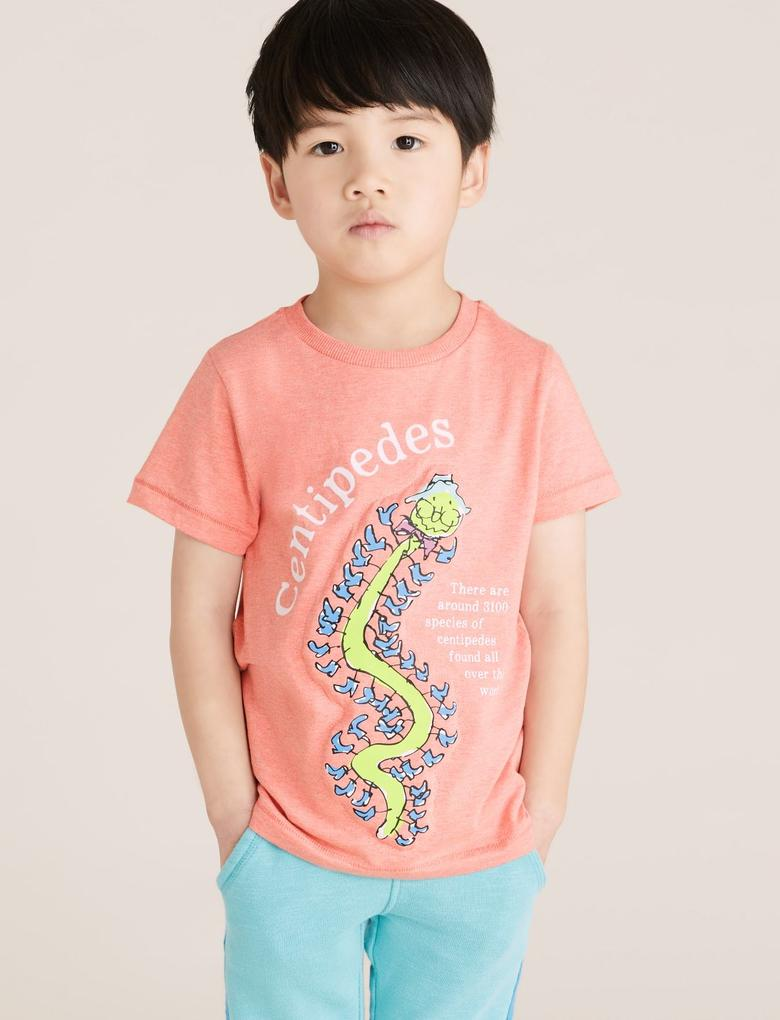 Erkek Çocuk Kırmızı Kertenkele Baskılı Unisex T-Shirt