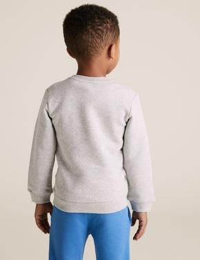 Erkek Çocuk Gri Dünya Baskılı Sweatshirt