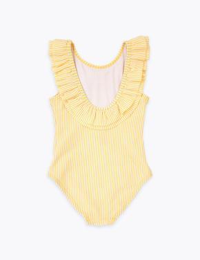 Kız Çocuk Sarı Fırfır Detaylı Mayo