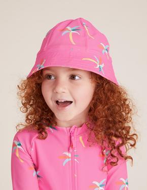 Kız Çocuk Pembe Palmiye Desenli Mayo Takımı