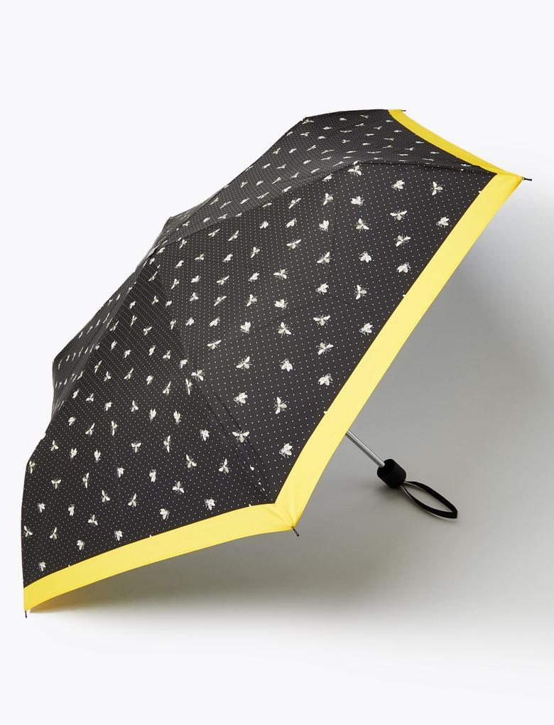 Kadın Siyah Arı Desenli Şemsiye