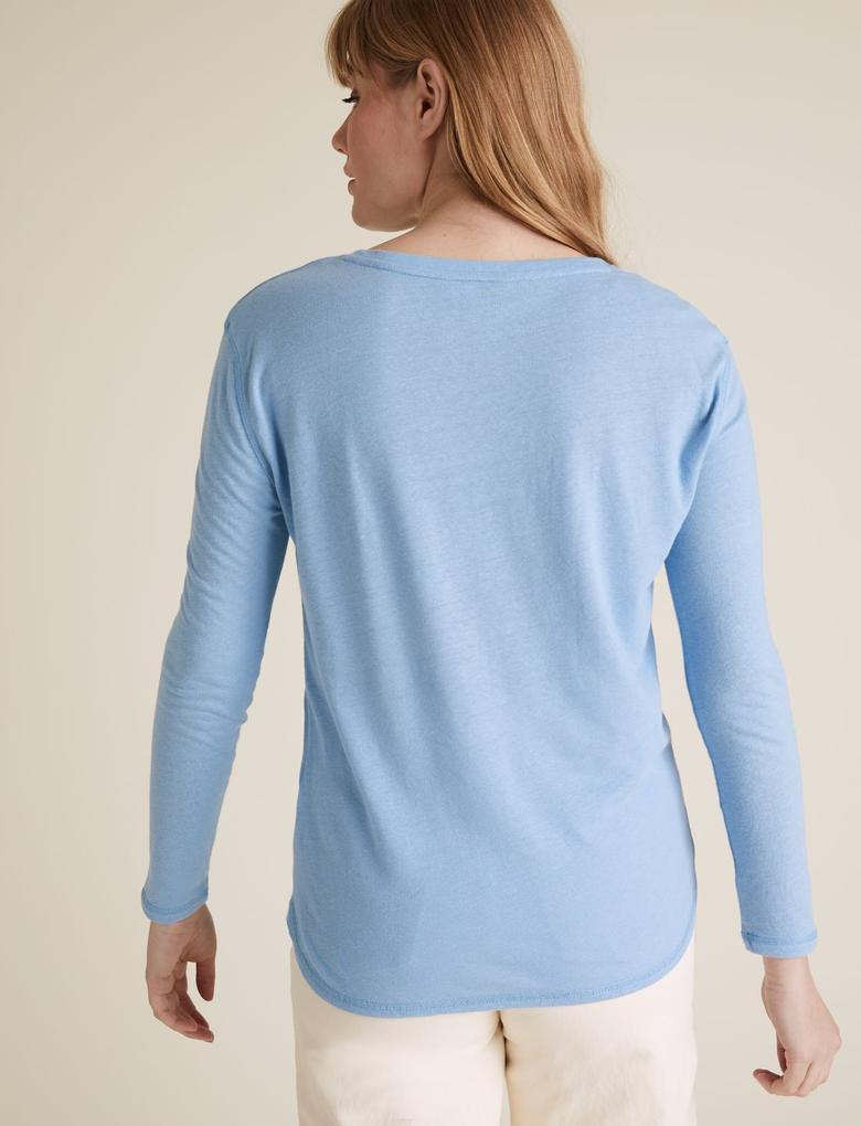 Kadın Mavi Uzun Kollu Keten Bluz