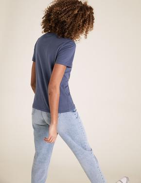 Kadın Mavi Love Baskılı T-Shirt