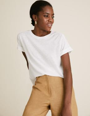 Kadın Beyaz Keten Karışımlı T-Shirt