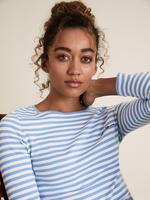 Kadın Mavi Uzun Kollu İşlemeli Bluz