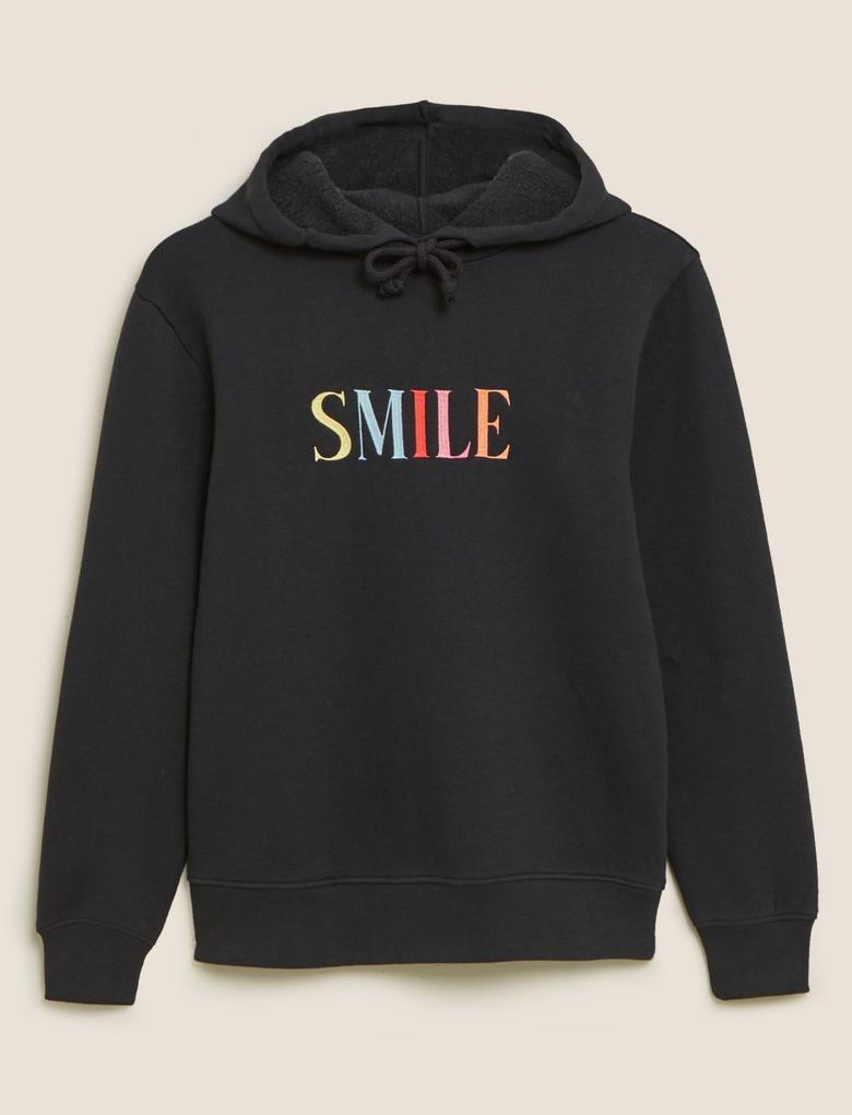 Kadın Siyah Smile Baskılı Kapüşonlu Sweatshirt