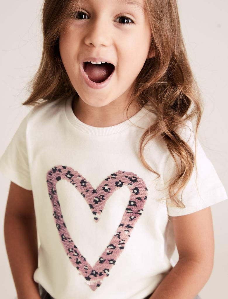 Kız Çocuk Beyaz Kalp Baskılı T-Shirt