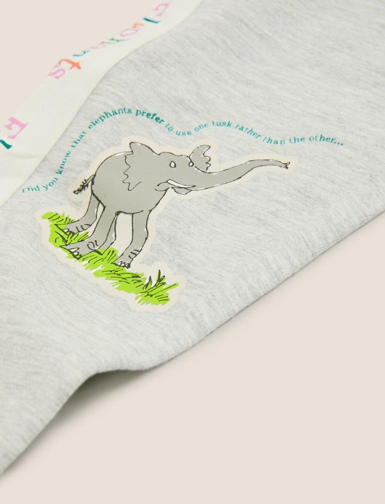 Kız Çocuk Gri Elephants Baskılı Eşofman Altı
