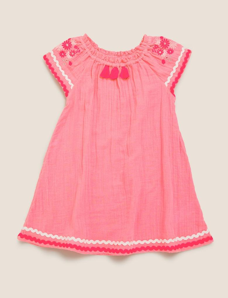 Kız Çocuk Pembe Saf Pamuk İşlemeli Elbise (2-7 Yaş)
