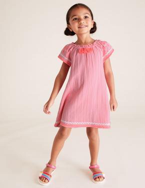 Kız Çocuk Pembe Kolları İşlemeli Elbise