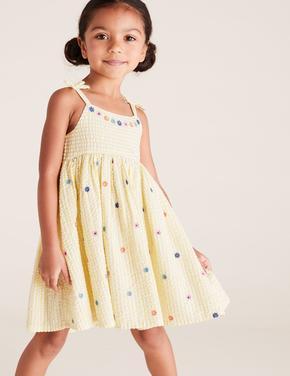 Kız Çocuk Sarı Pileli İnce Askılı Elbise