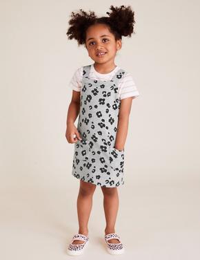 Kız Çocuk Gri Çiçek Desenli Elbise