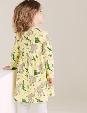 Kız Çocuk Sarı Fil Desenli Elbise