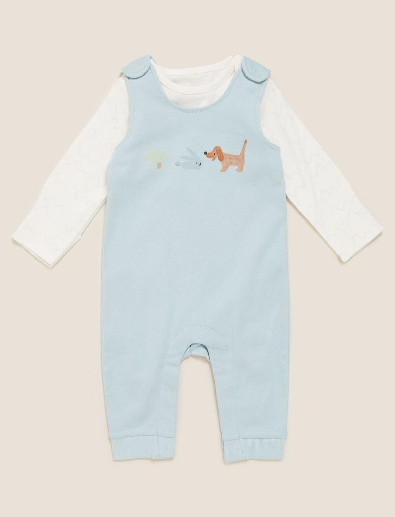 Bebek Mavi Önü Baskılı Tulum